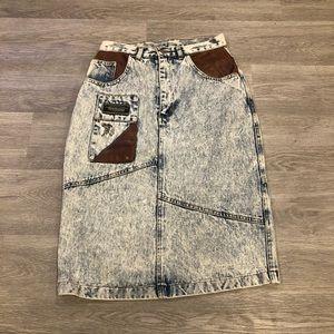Vintage Cadillac Club Stonewash Denim Skirt Sz S